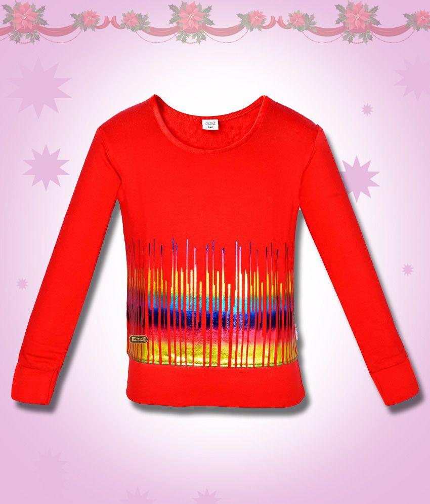 Gkidz Red Musical Wave Printed Sweatshirt