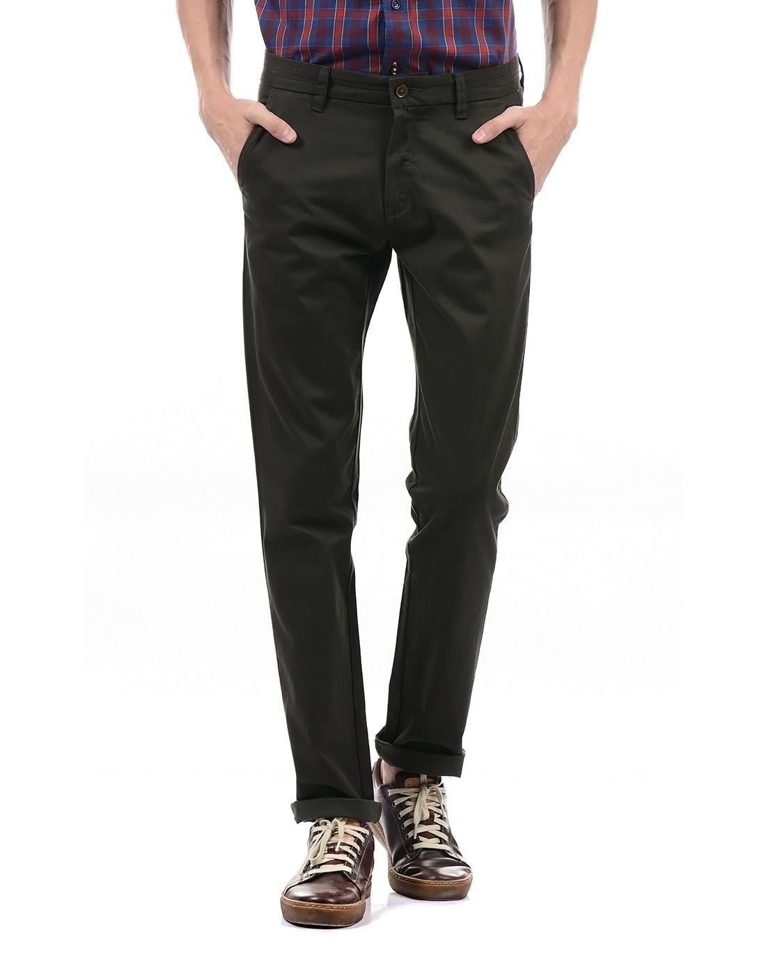 Arrow Sport Green Slim -Fit Flat Trousers