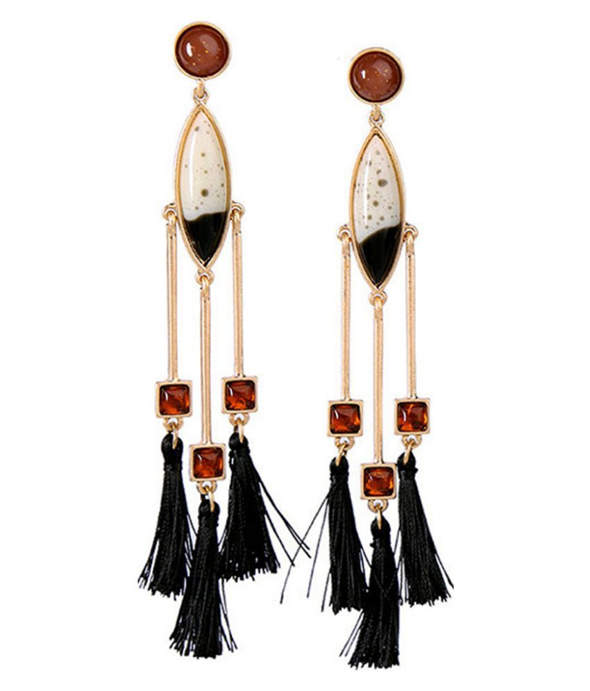 Jewel Touch Fashion Trendy Gold Color+black Diamond Decorated Tassel Design Color Matching Earrings
