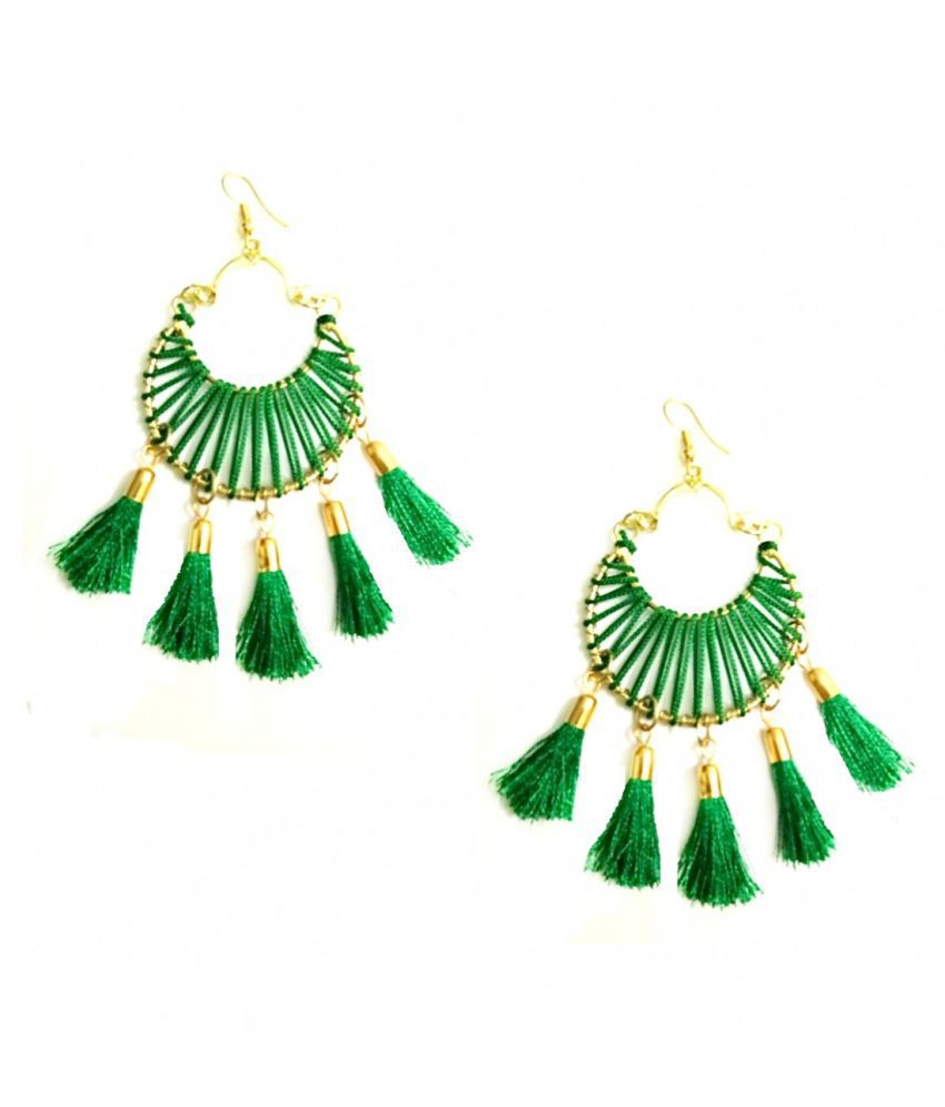 Turqueesa Round 5 Tassel Circle Hoop Style Tassel Earrings - Green