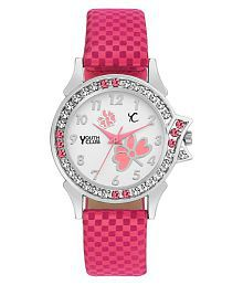 Youth Club PNK-FLW Studded Counting Dial Watch - For Girls