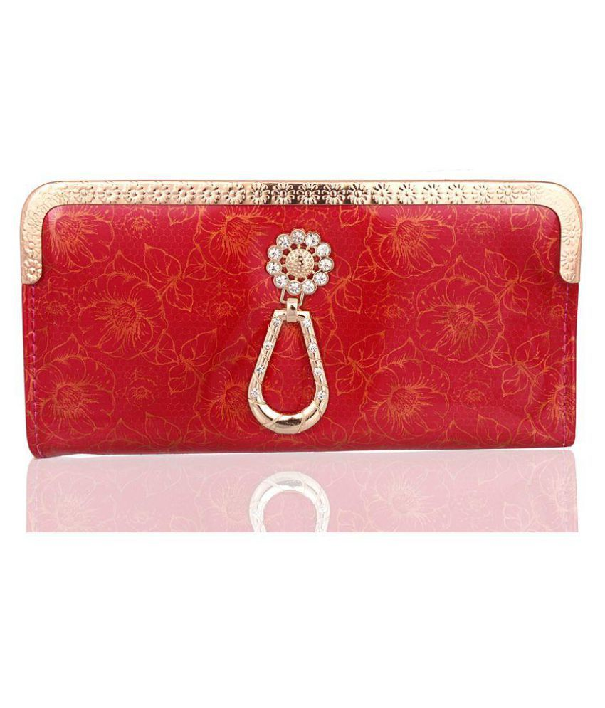 AB Collection Red Faux Leather Box Clutch