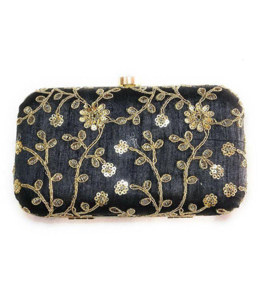 Annita Black Fabric Box Clutch