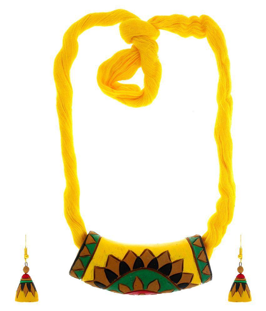 Anuradha Art Yellow Colour Beautiful Designer Handcrafted Terracotta Necklace Set For Women/Girls