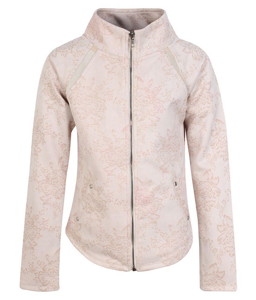 Cutecumber Girls Partywear Winter Waistline Suede Jacket