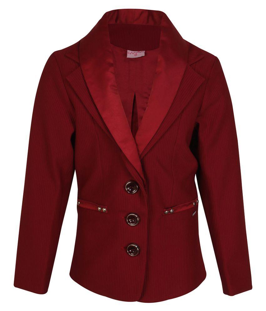Cutecumber Girls Partywear Winter Waistline Ribbed Knit Coat