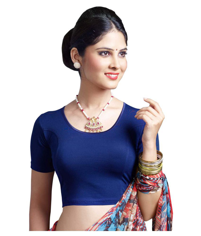 HRINKAR Blue Cotton Readymade without Pad Blouse