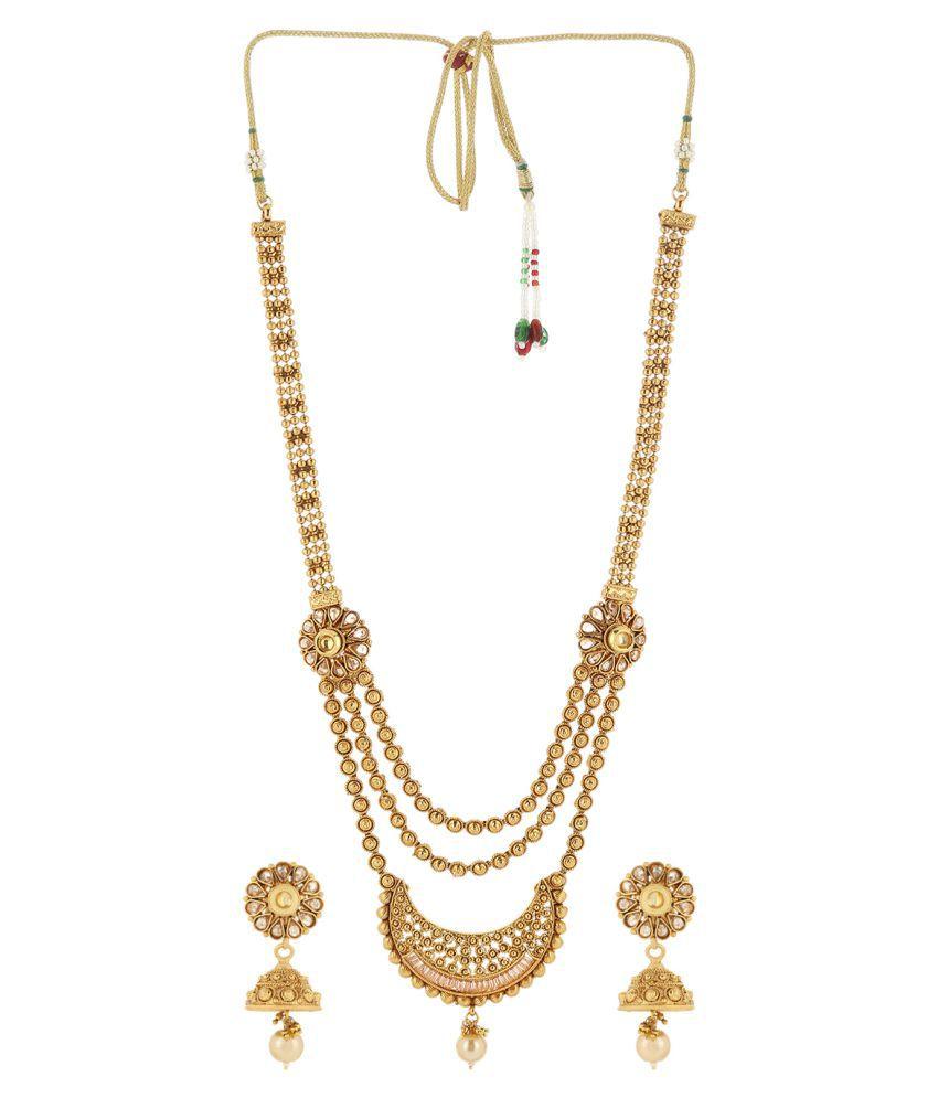 Priyaasi's Royal Gold Pearl Kundan Polki Necklace Set With Earrings