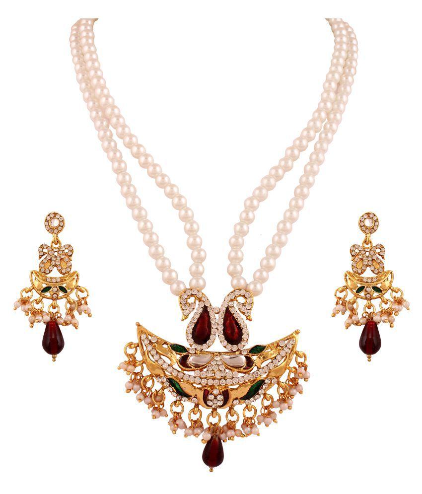 Variation Mayur Designer  2 Strand Pearl Chandrahar Set