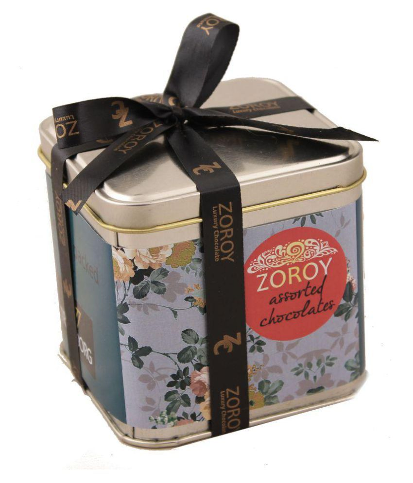 Zoroy Luxury Chocolate square tin Assorted Box Christmas and new year gift 400 gm