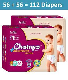 Champs High Absorbent Pant Style Diaper Medium(56 Pieces) - Pack of 2
