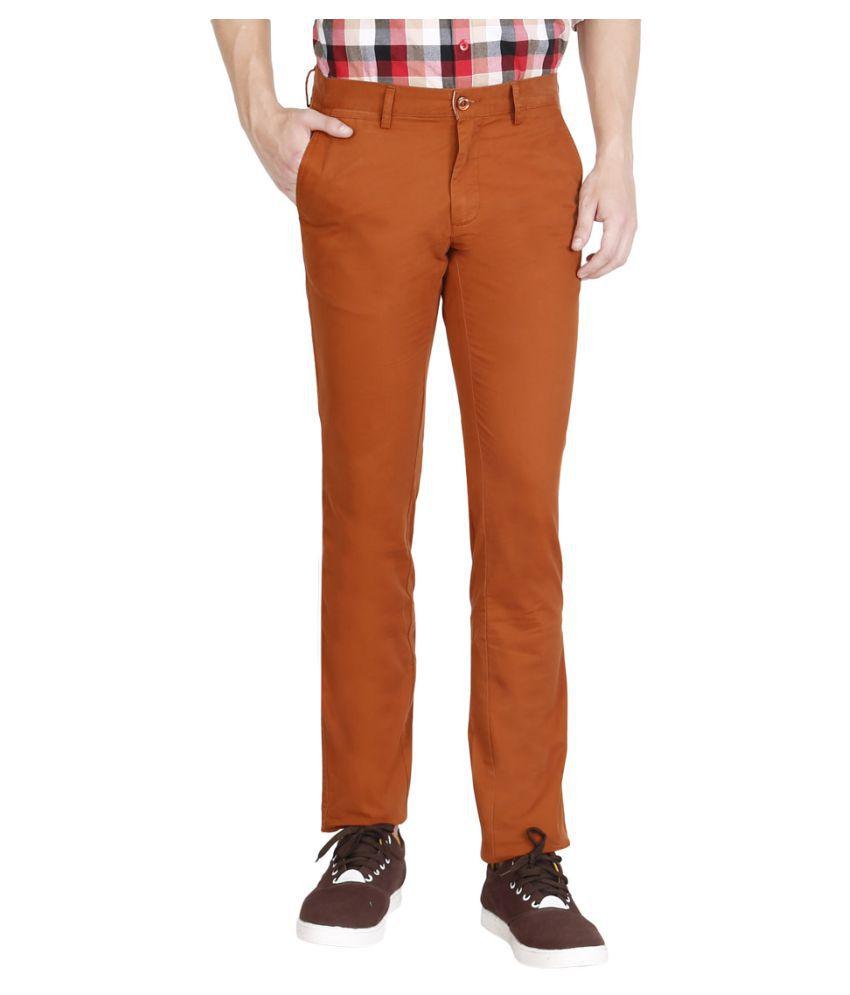 JDC Tan Regular -Fit Flat Trousers