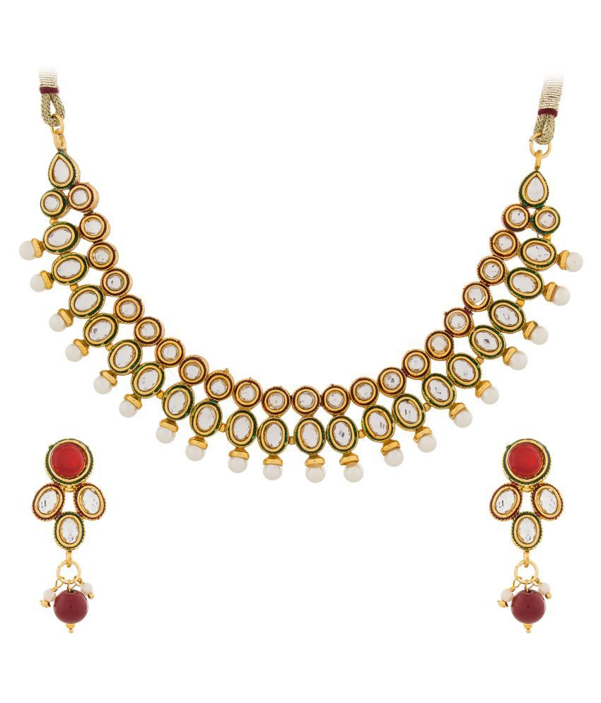 Aadita Ethnic Traditional Kundan and Pearl Necklace Set with Earrings for Women