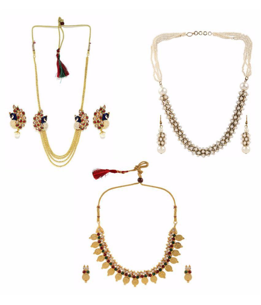Archi Collection Designer Combo of Traditional Necklace Set Jewellery for Girls and Women