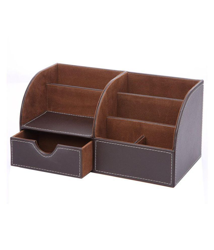 Artikle 7 Storage Compartments Multifunctional Leather Office Desk Organizer Desktop Stationery Box Collection Business Card Pen Pencil Mobile