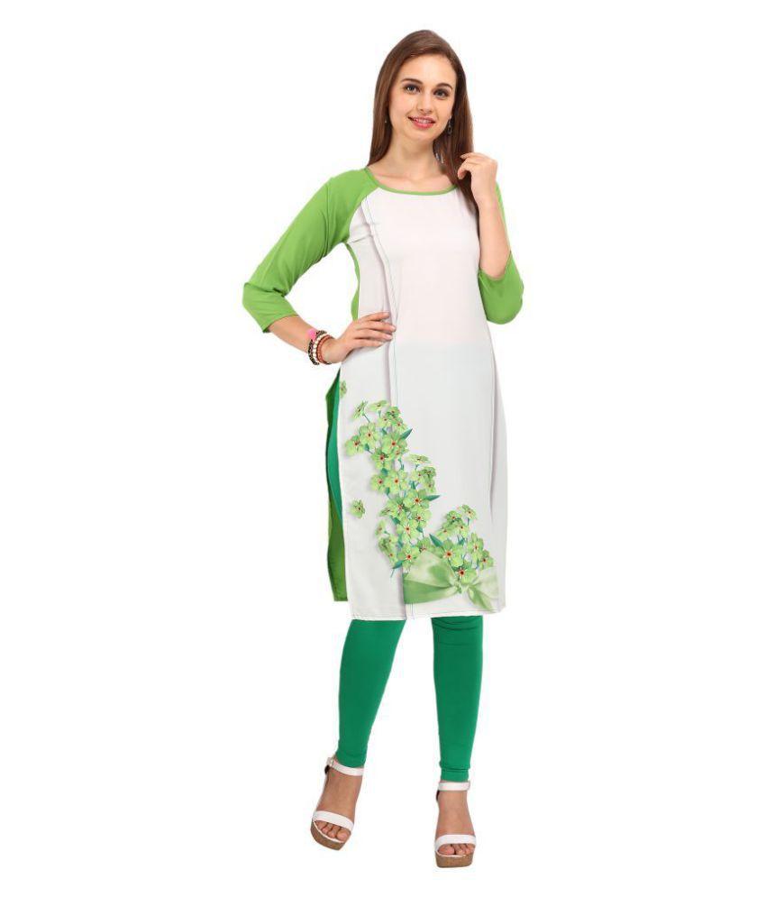 Fashion2wear White Crepe Straight Kurti