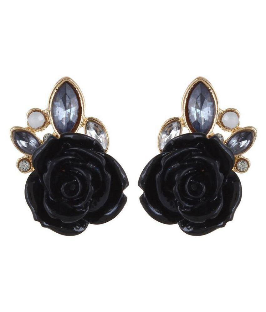 Jewel Touch Chunky Fashion Gold Plated Black Rose Stud Earrings