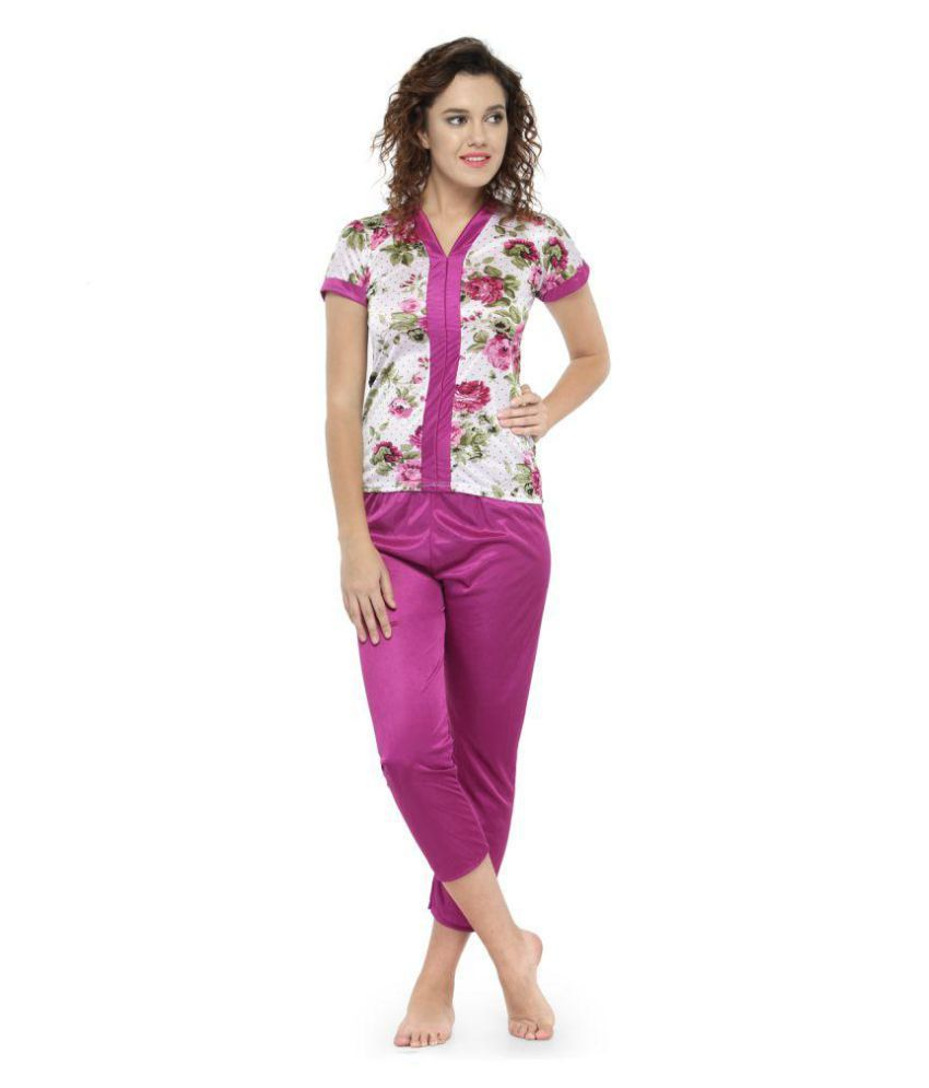 4ee471b78c7a Buy N-Gal Satin Pajamas - Maroon Online at Best Prices in India - Snapdeal