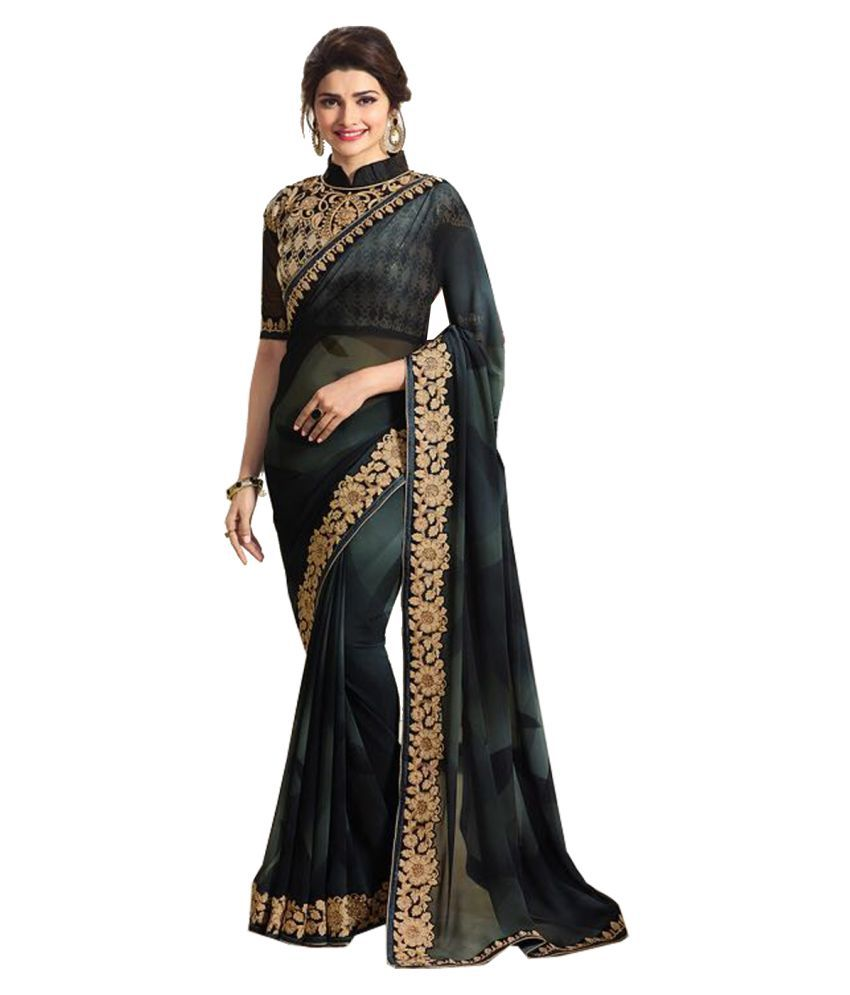 VastraParidhan Black Georgette Saree