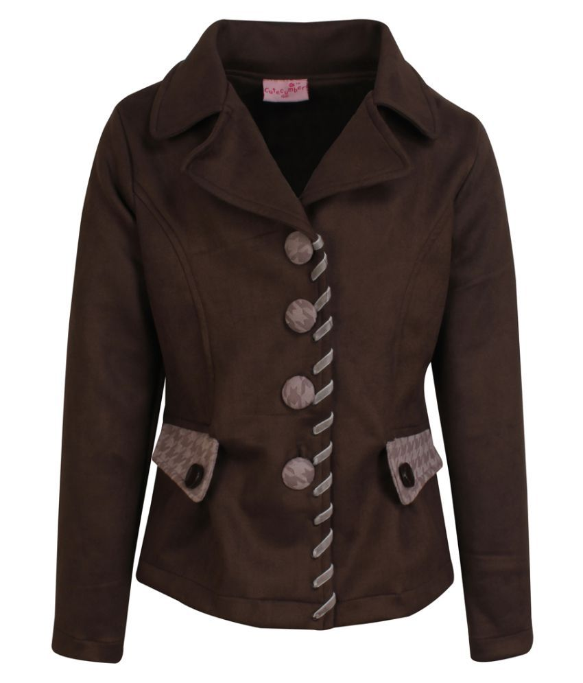 Cutecumber Girls Partywear Suede Winter Coat