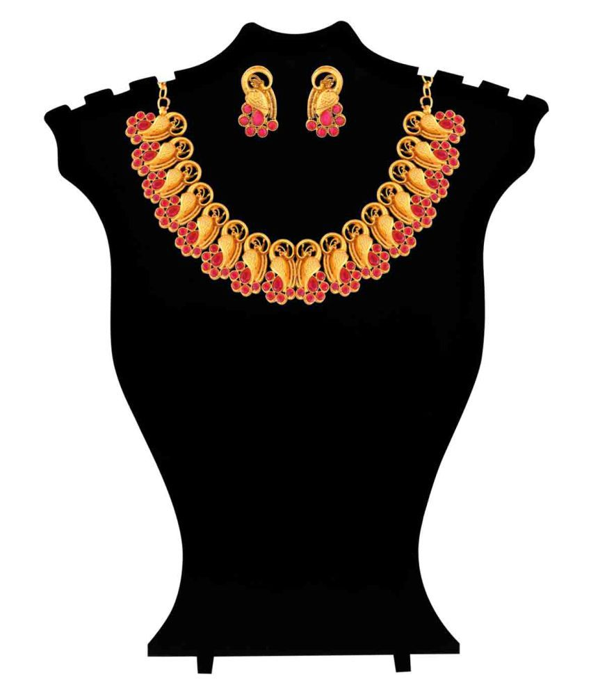 Kalyani Covering Matt Finish Temple Gold Necklace Set for Women and Girls.