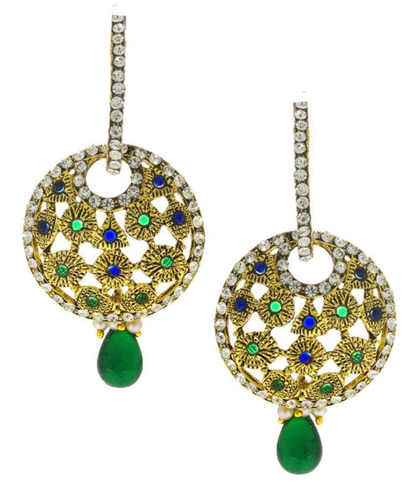 Anuradha Art Blue-Green Studded Sparkling Stones Classy & Trendy Traditional Hoop Earrings For Women/Girls
