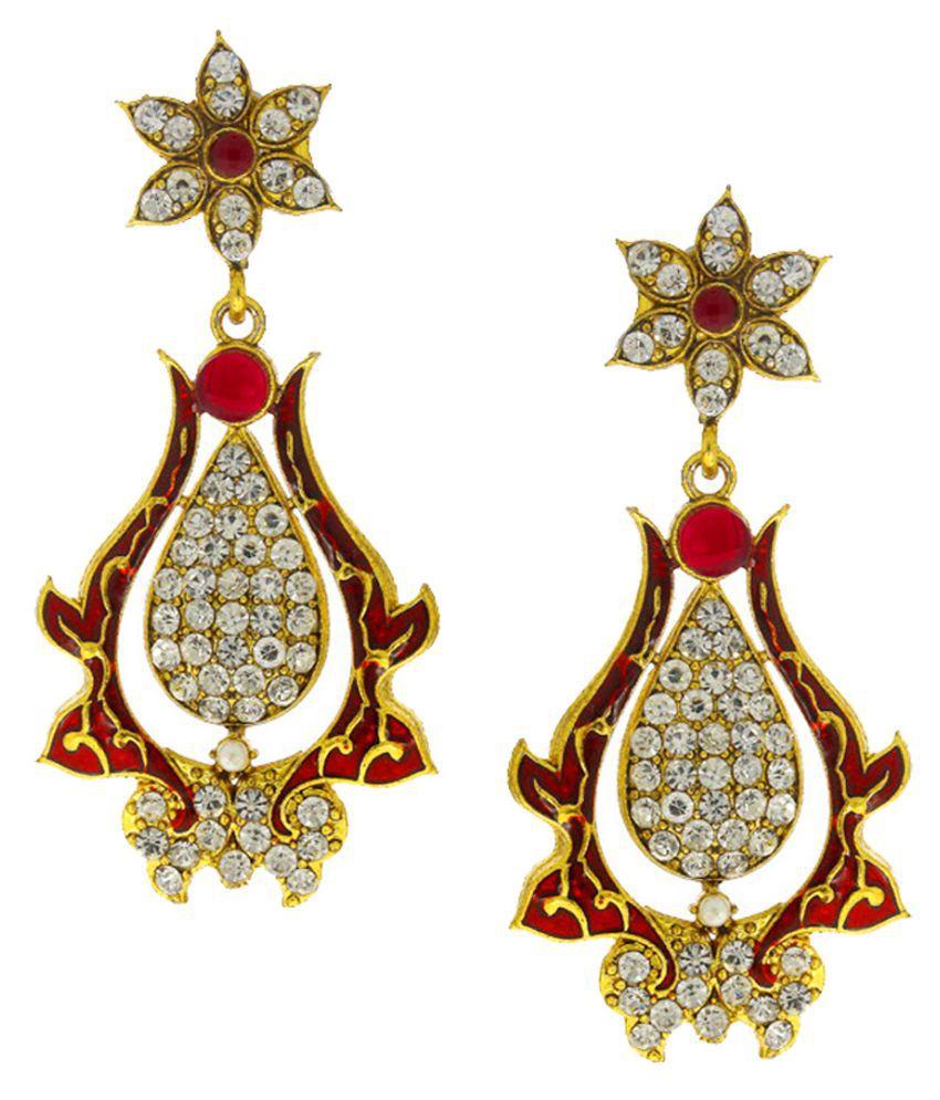 Anuradha Art Maroon Colour Very Pretty Designer Traditional Long Earrings For Women/Girls