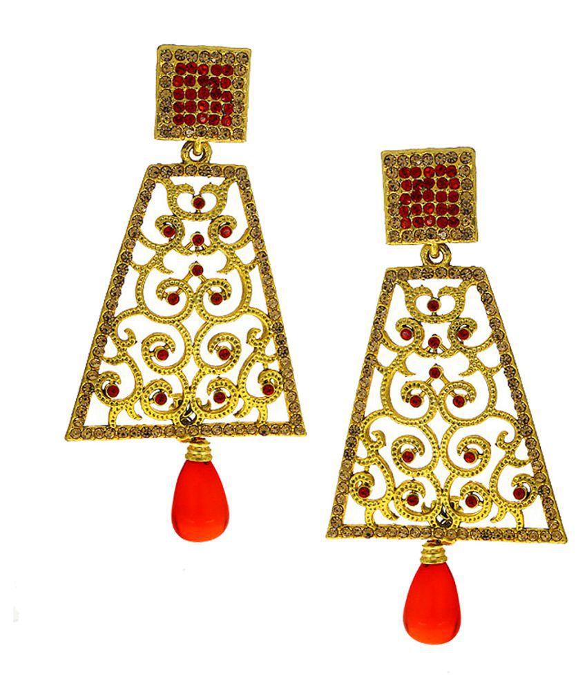 Anuradha Art Orange Colour Studded Sparkling Golden Stones Wonderful Designer Traditional Long Earrings For Women/Girls