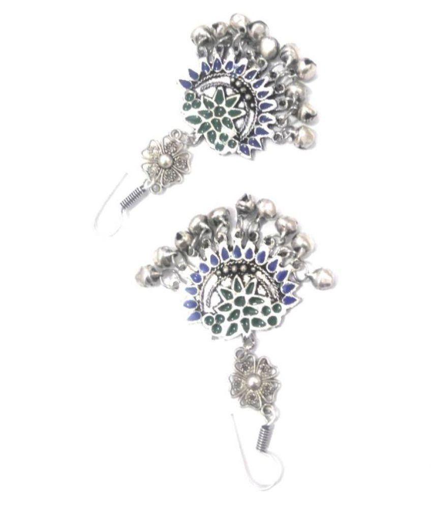 3803a466f Multicolor Afghani Jhumka oxidised silver metal with green & Blue Enamel  work. Great ladies fashion Earrings. - Buy Multicolor Afghani Jhumka  oxidised ...