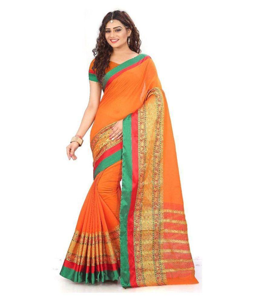 Ak Enterprise Orange Cotton Silk Saree