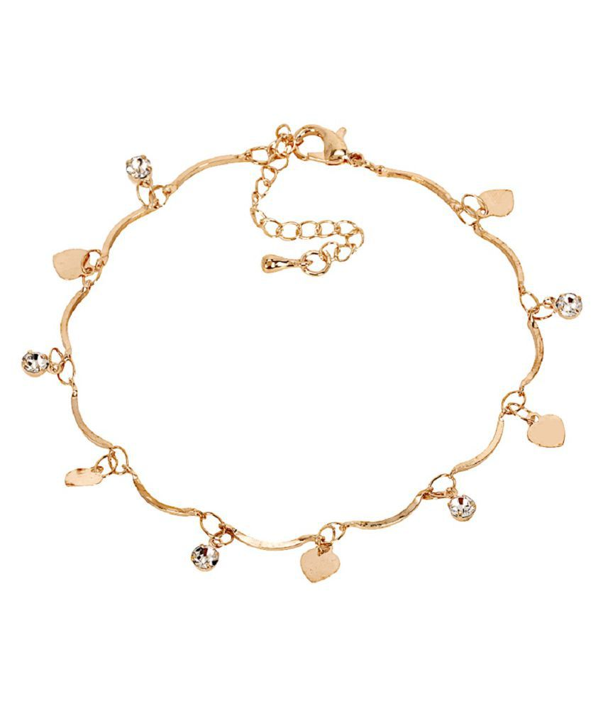 Bijou Vertex Light Gold Delicate Anklet With Heart & Crystal Charms