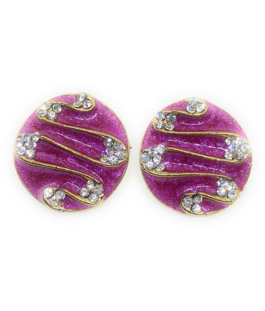 Designer Enameled Earring, Rani Color, Gold Tone, Stone Stud, Push Back Style