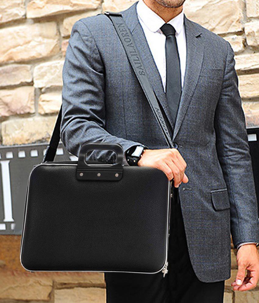 17174a61df81 ... Home Story Black PU Leather Laptop Bag 15 inch Sling Bag For Men   Women   ...