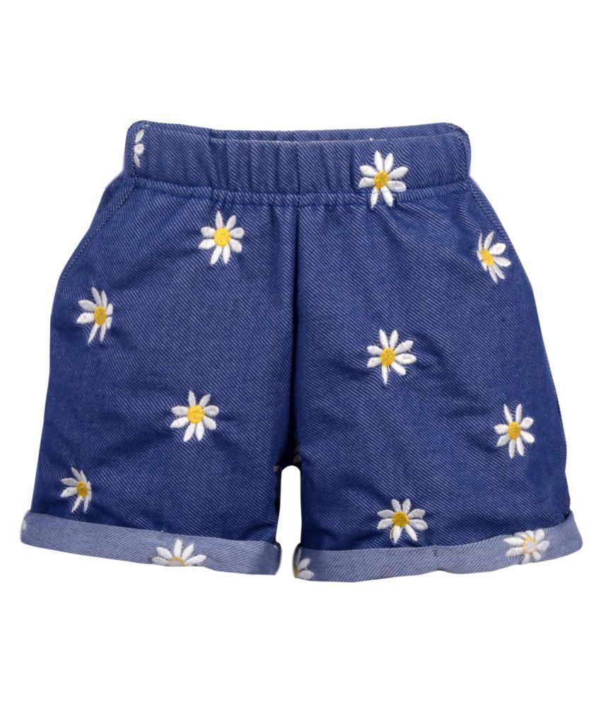 Lil Orchids Girls Flower Embroidered Navy Blue Denim Shorts