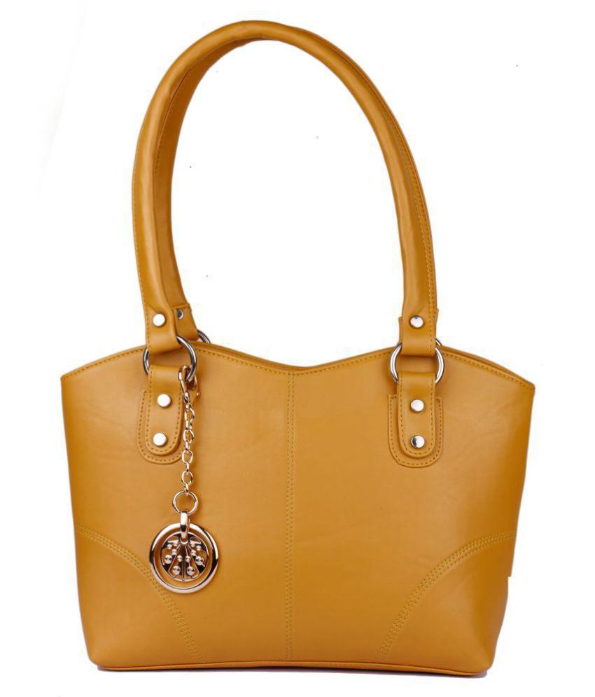 Women marks Yellow Faux Leather Shoulder Bag