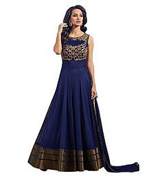 Omstar Fashion Blue Net Anarkali Gown Semi-Stitched Suit