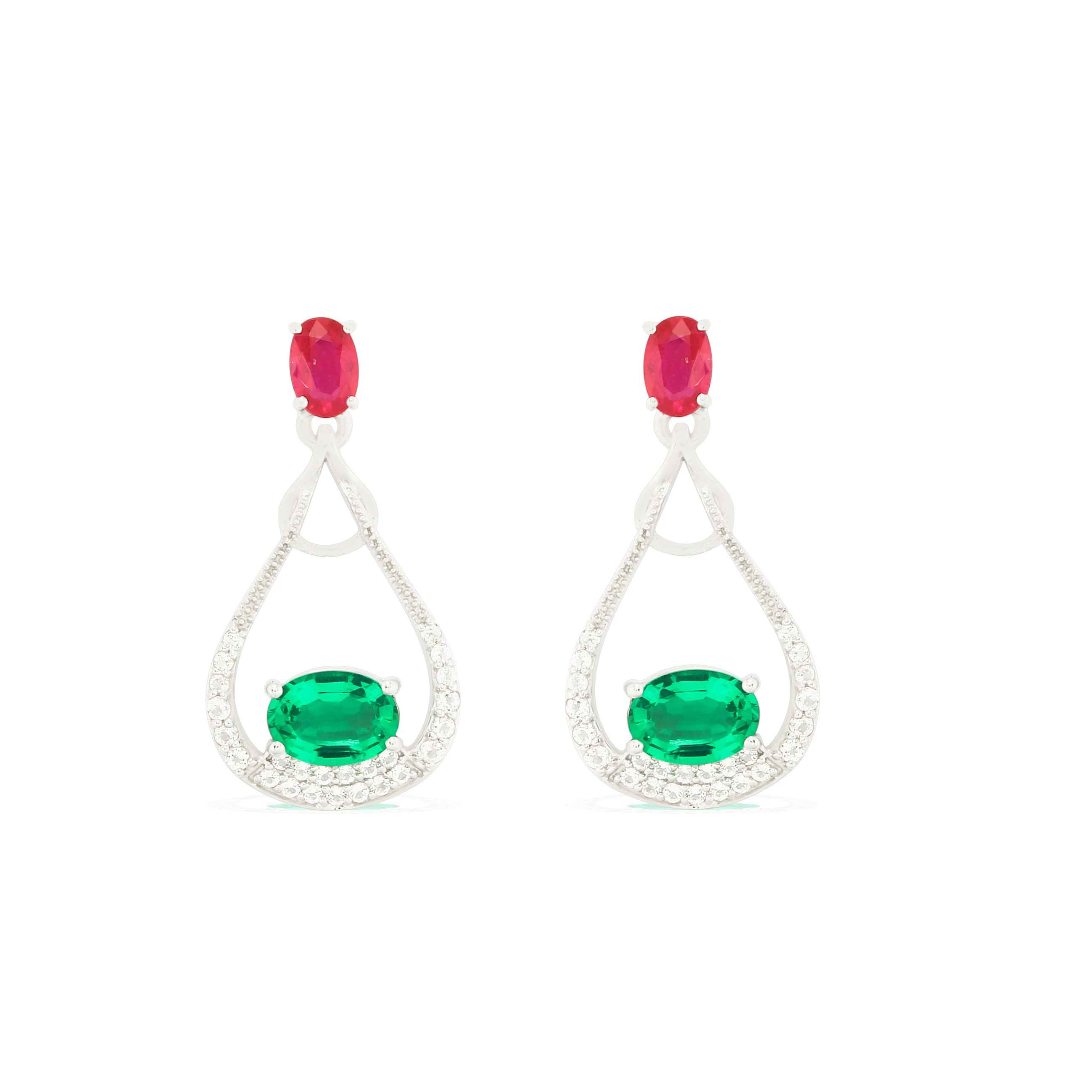 925 Sterling Silver Ruby Emerald Precious Earrings by Allure Buy