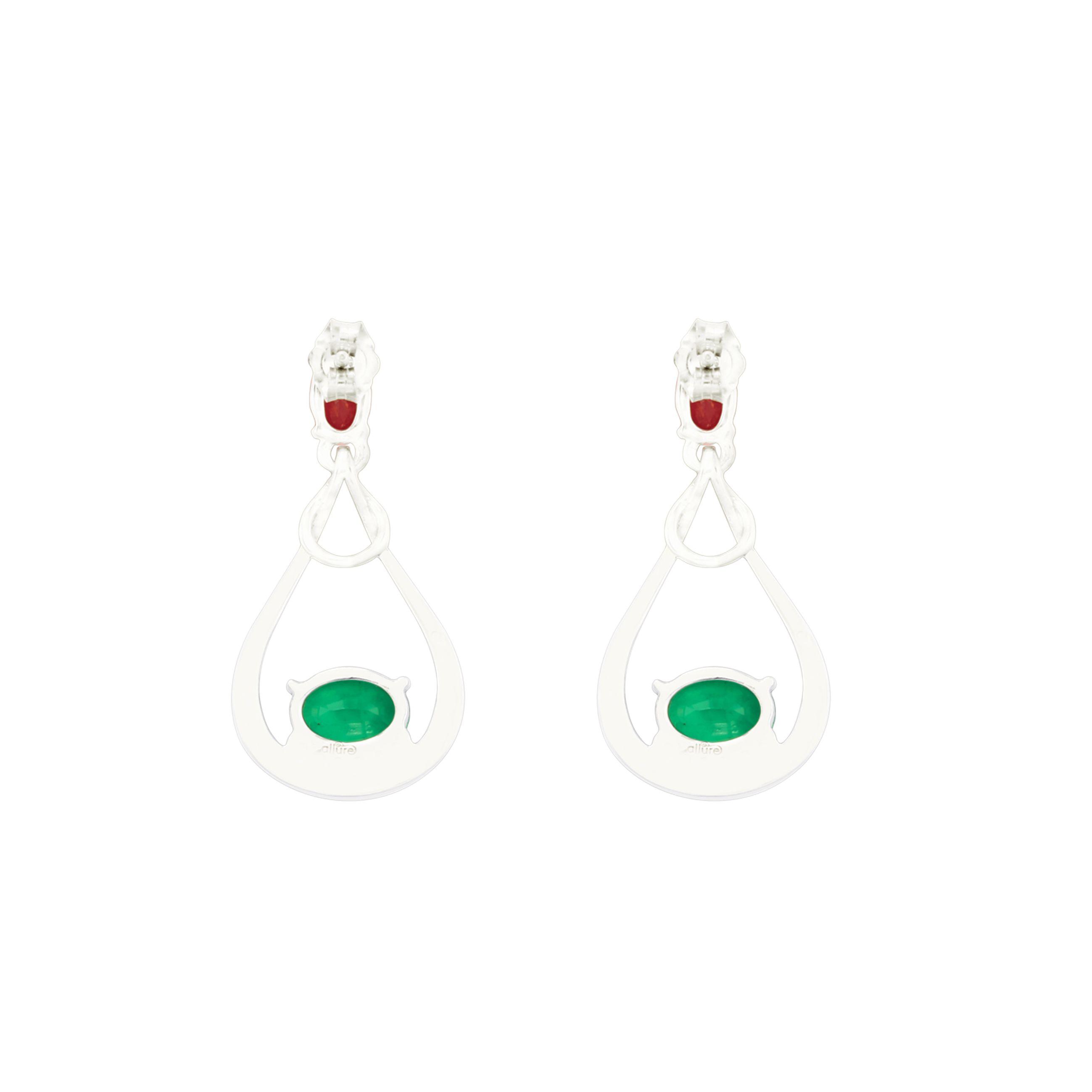 925 Sterling Silver Ruby Emerald Precious Earrings by Allure Buy