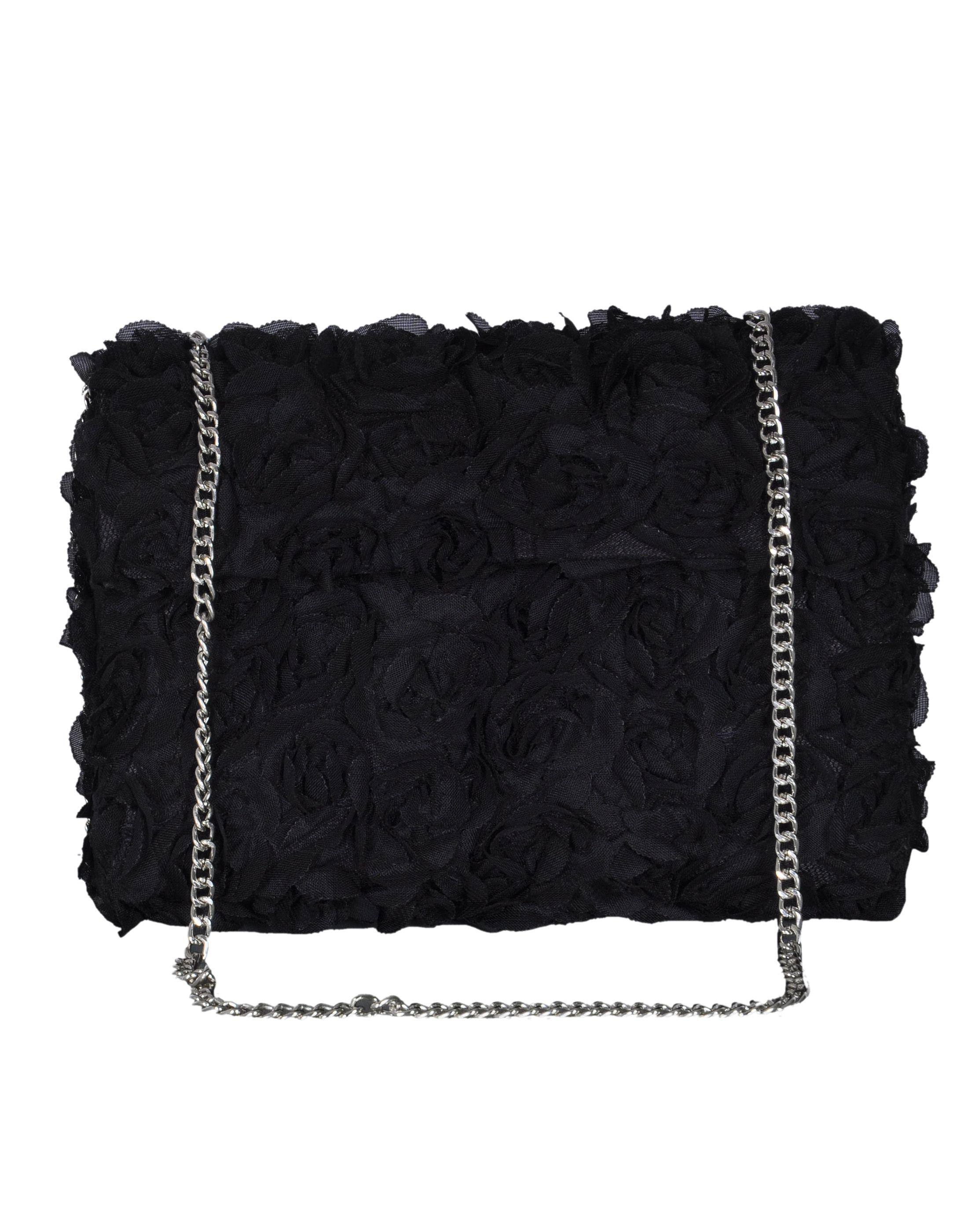 Duchess Black Fabric Box Clutch