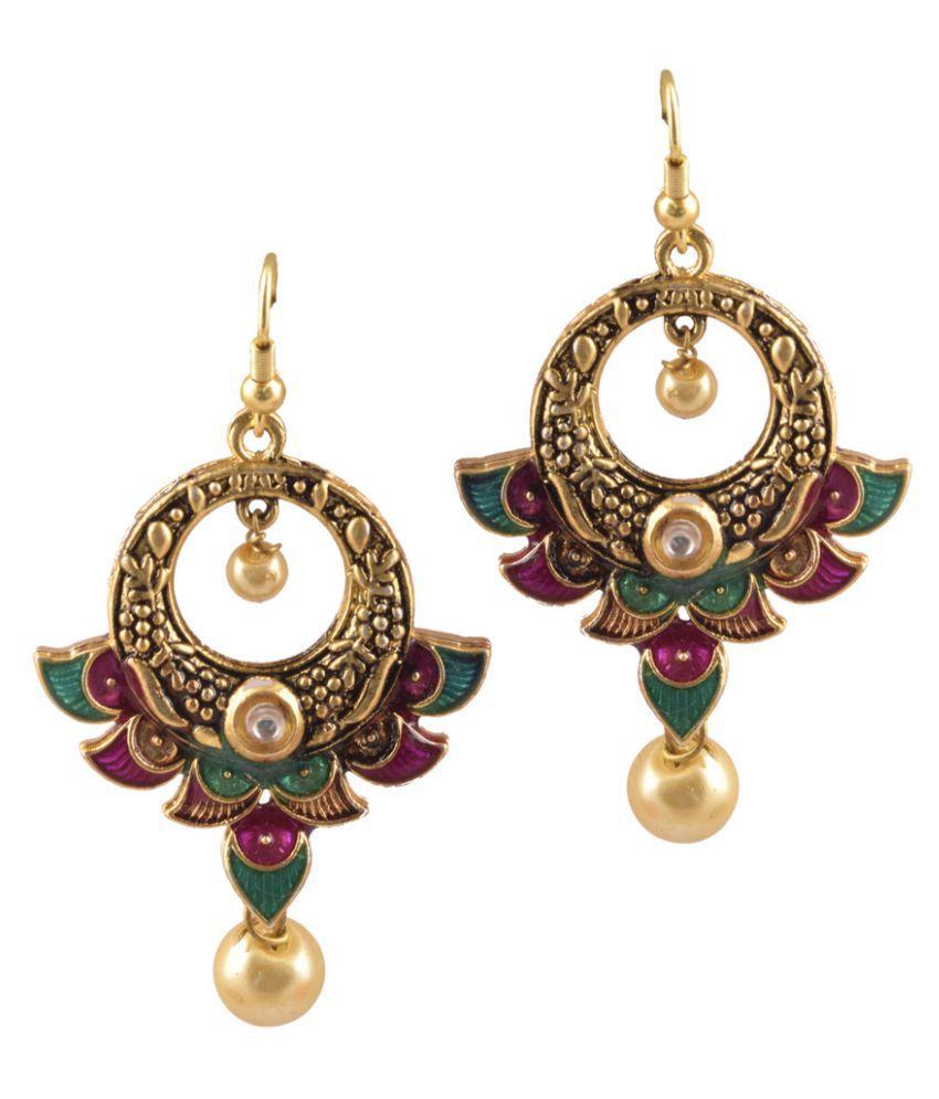 Amaira Women's Non Precious Brass Metal Dangle and Drop Earrings - Multi Color