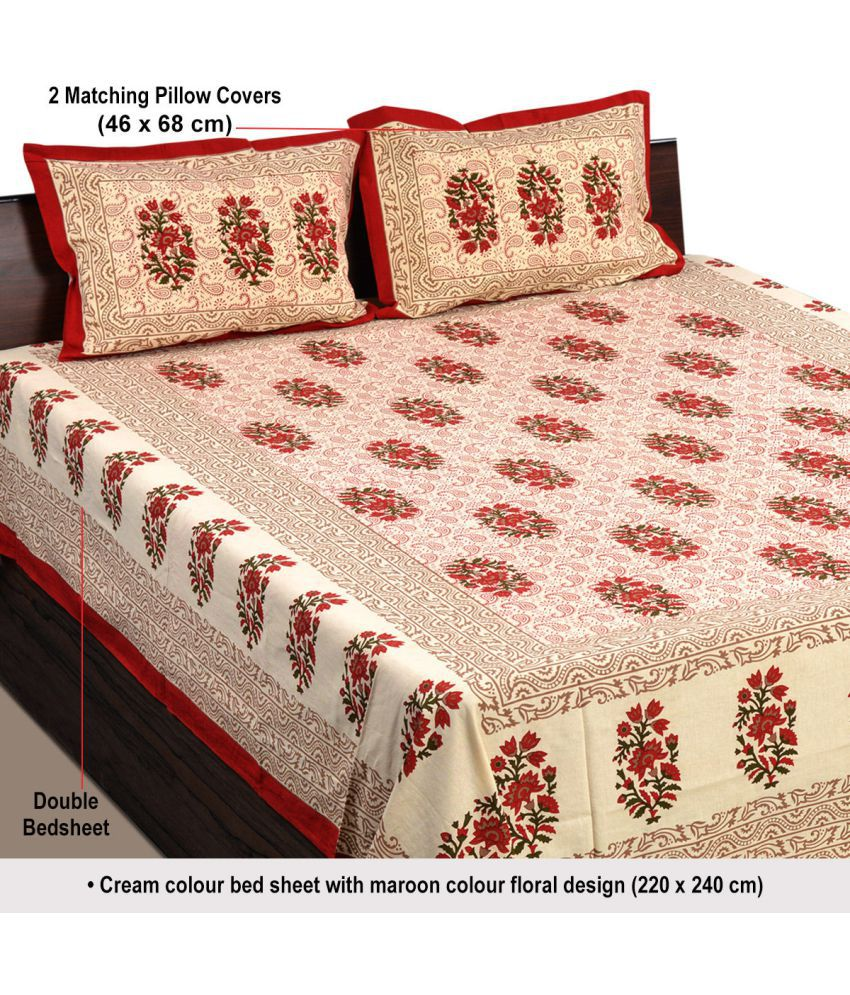dfa01a3e793 Aapno Rajasthan Cotton Double Bedsheet with 2 Pillow Covers - Buy Aapno  Rajasthan Cotton Double Bedsheet with 2 Pillow Covers Online at Low Price  in India ...