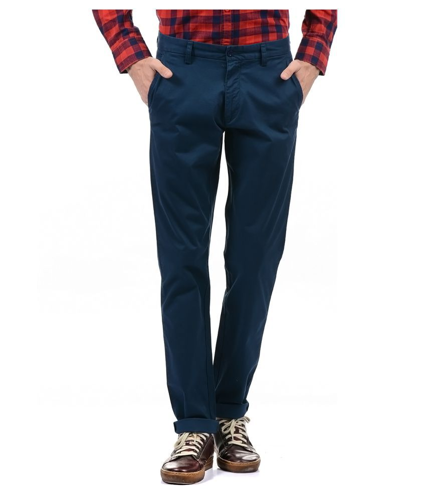 Izod Dark Blue Regular -Fit Flat Trousers