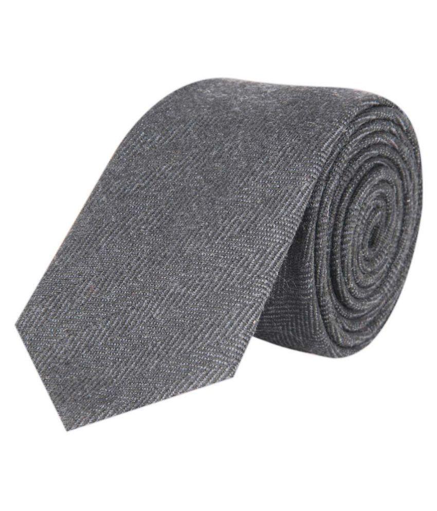 Tiekart Gray Plain Cotton Necktie