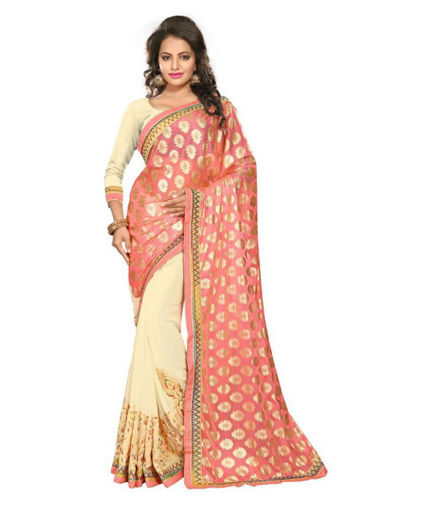 Urban India Peach Lycra Saree