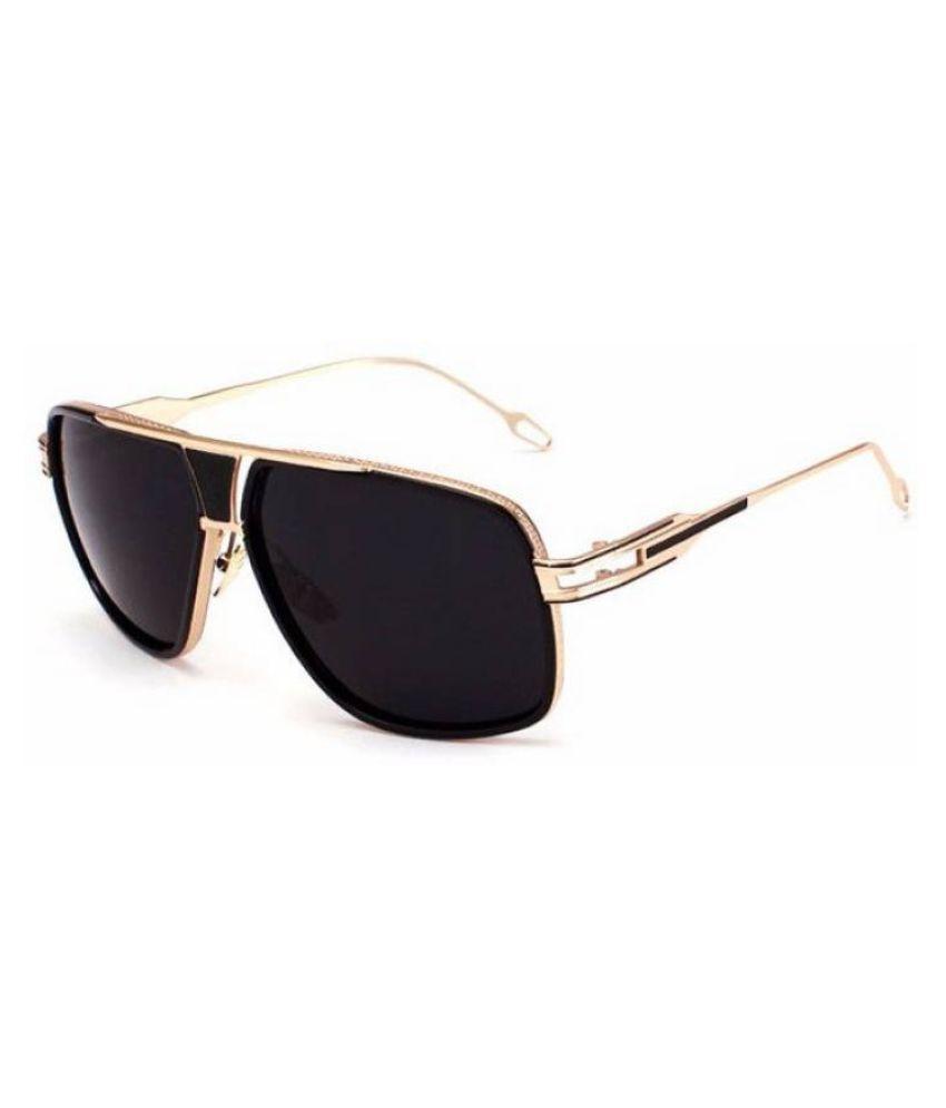 PIQUE EYEWEAR Black Rectangle Sunglasses ( 2600 )