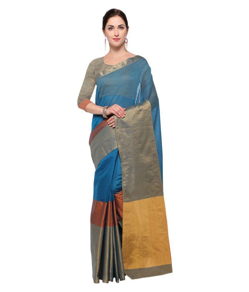 Urban India Blue Art Silk Saree