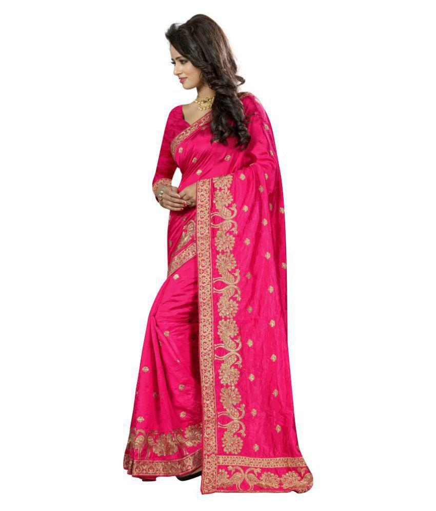 Urban India Pink Art Silk Saree