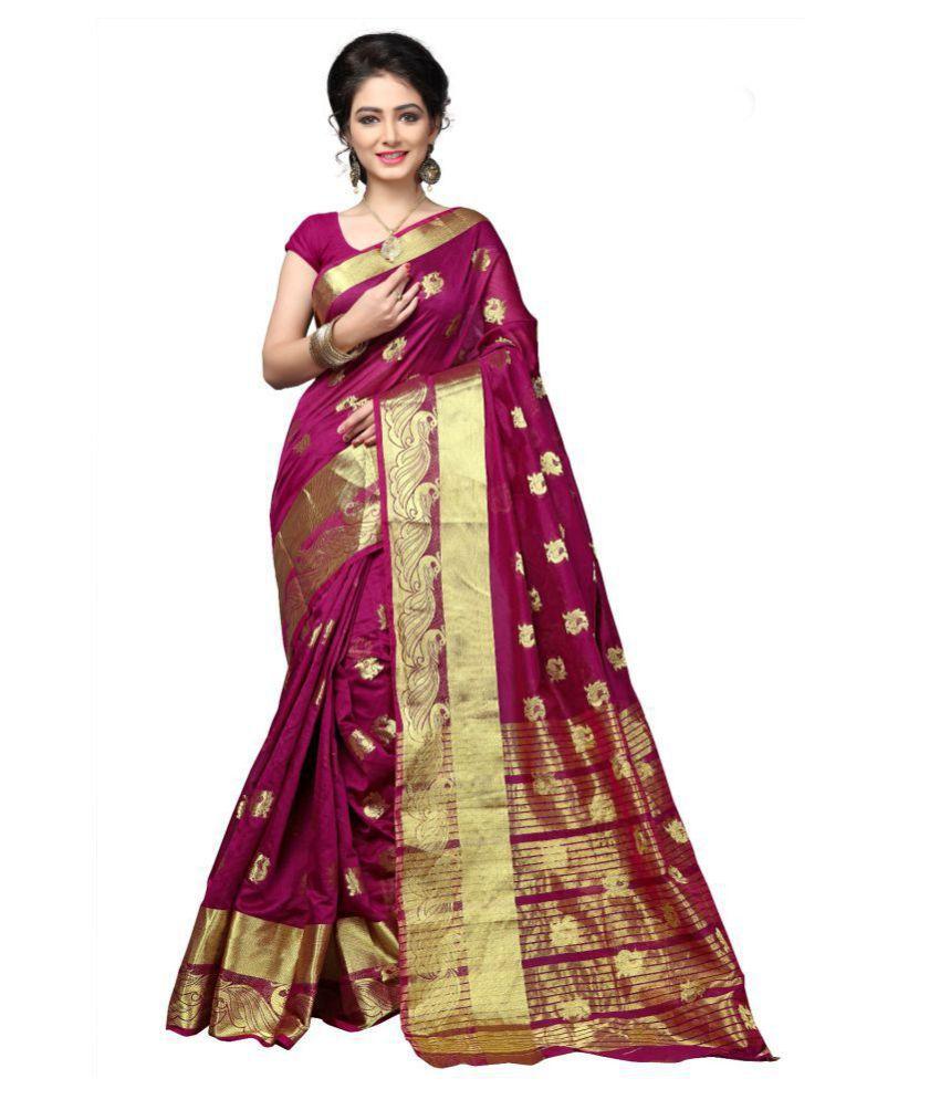 Urban India Purple Cotton Silk Saree