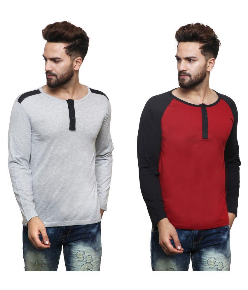 X-CROSS Multi Henley T-Shirt Pack of 2