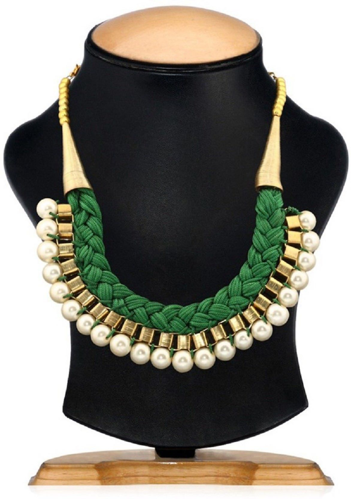 Aabhu Gold Plated Handmade Funky Thread And Pear Beaded Choker Necklace Jewellery Set With Earring For Women And Girls